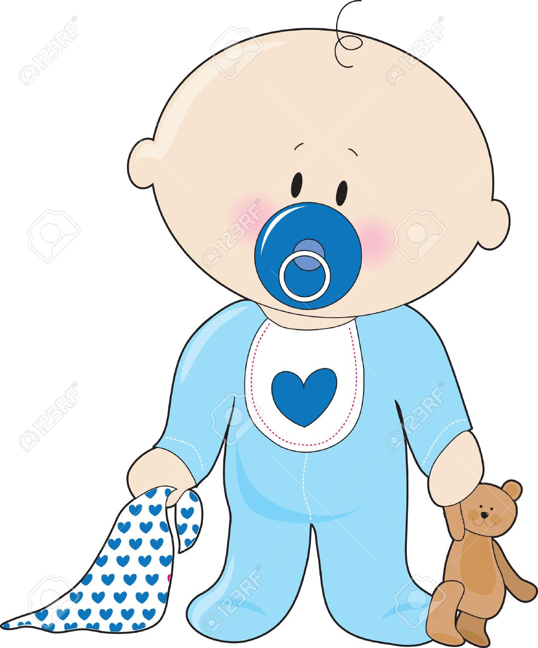 A baby boy with a soother,blanket and teddy bear - 5545081