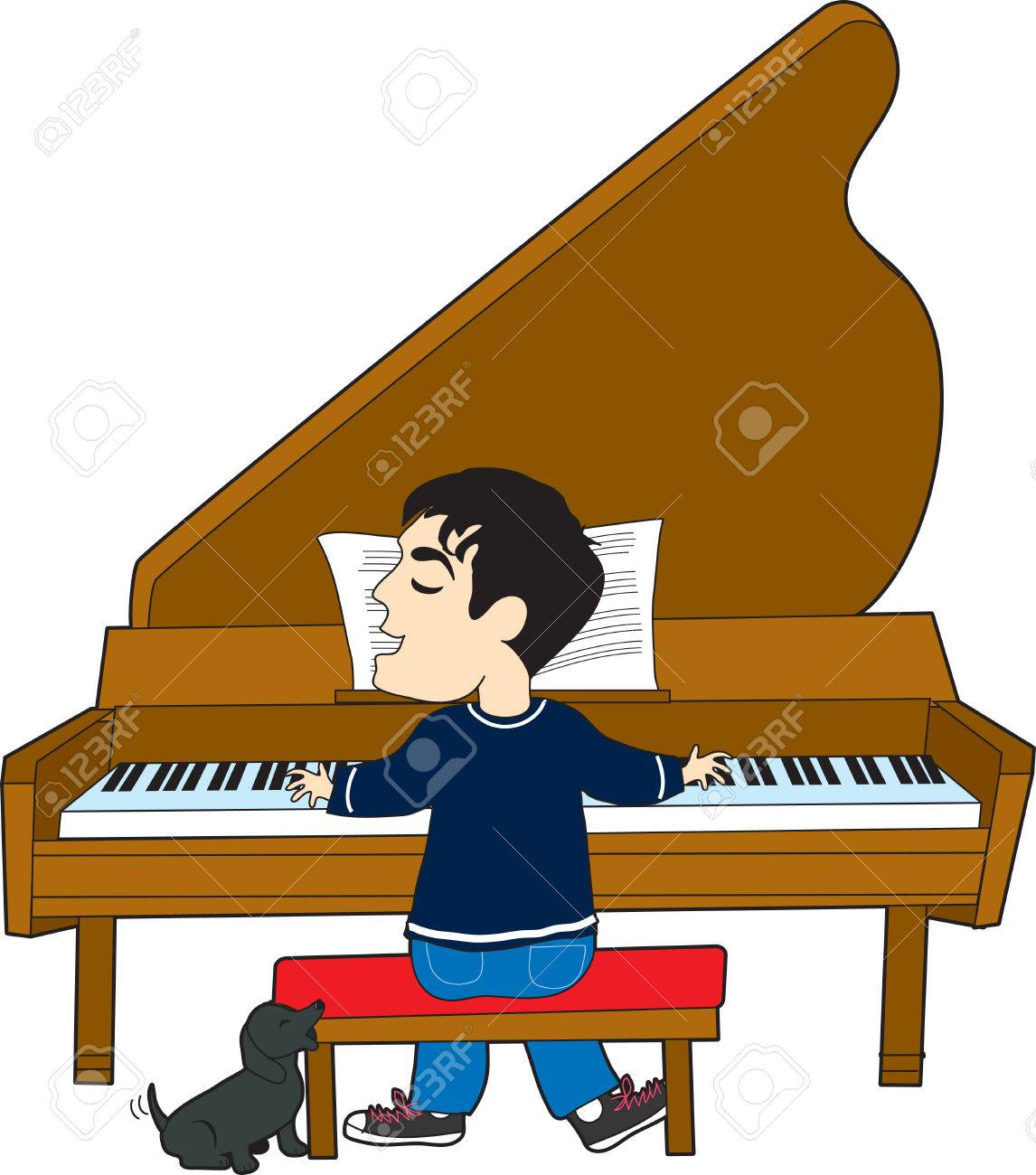 Young caucasian white man playing piano. Clipart | k56013530 | Fotosearch