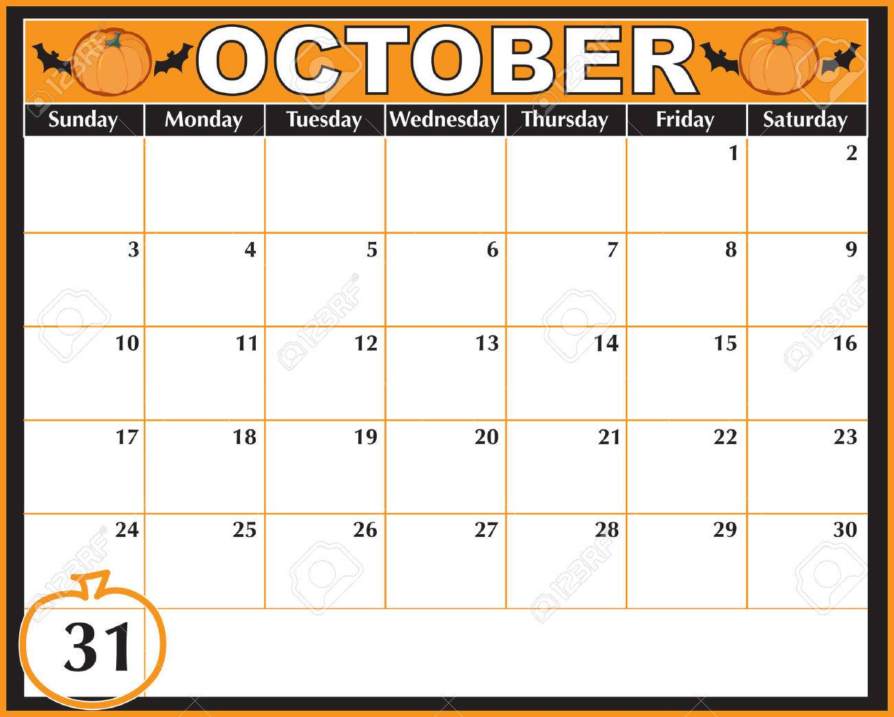 an october calendar showing the 31st prominently stock vector 6075687 - Why Is Halloween On The 31st Of October