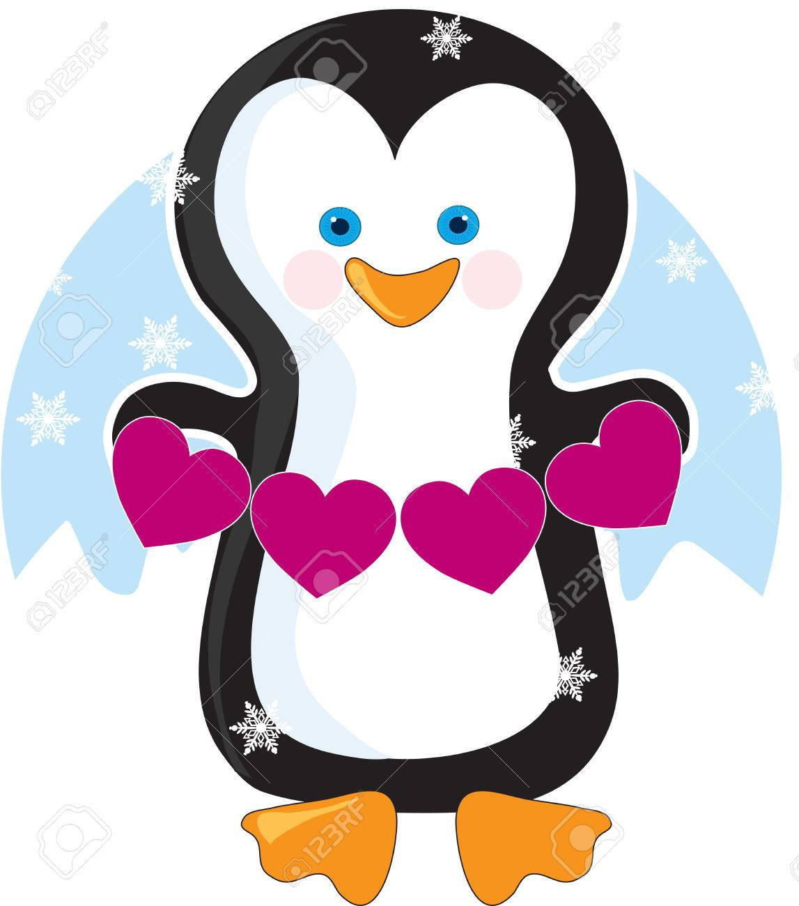 An Adorable Little Penguin Holding A Banner Of Pink Hearts Royalty Free Cliparts Vectors And Stock Illustration Image 6340750