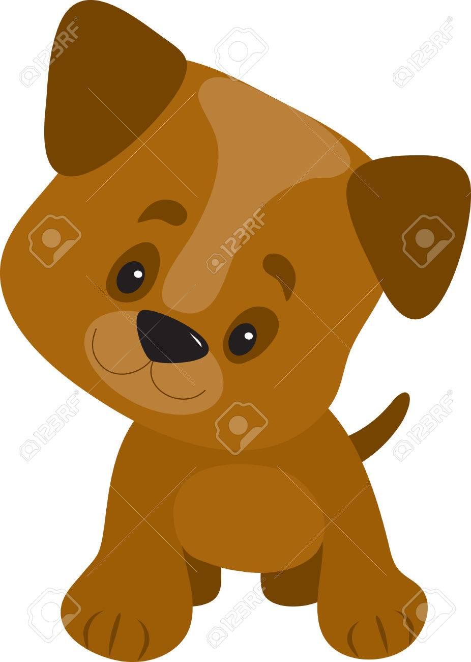 A cute little puppy with a big head looking curious and happy Stock Vector - 6728099
