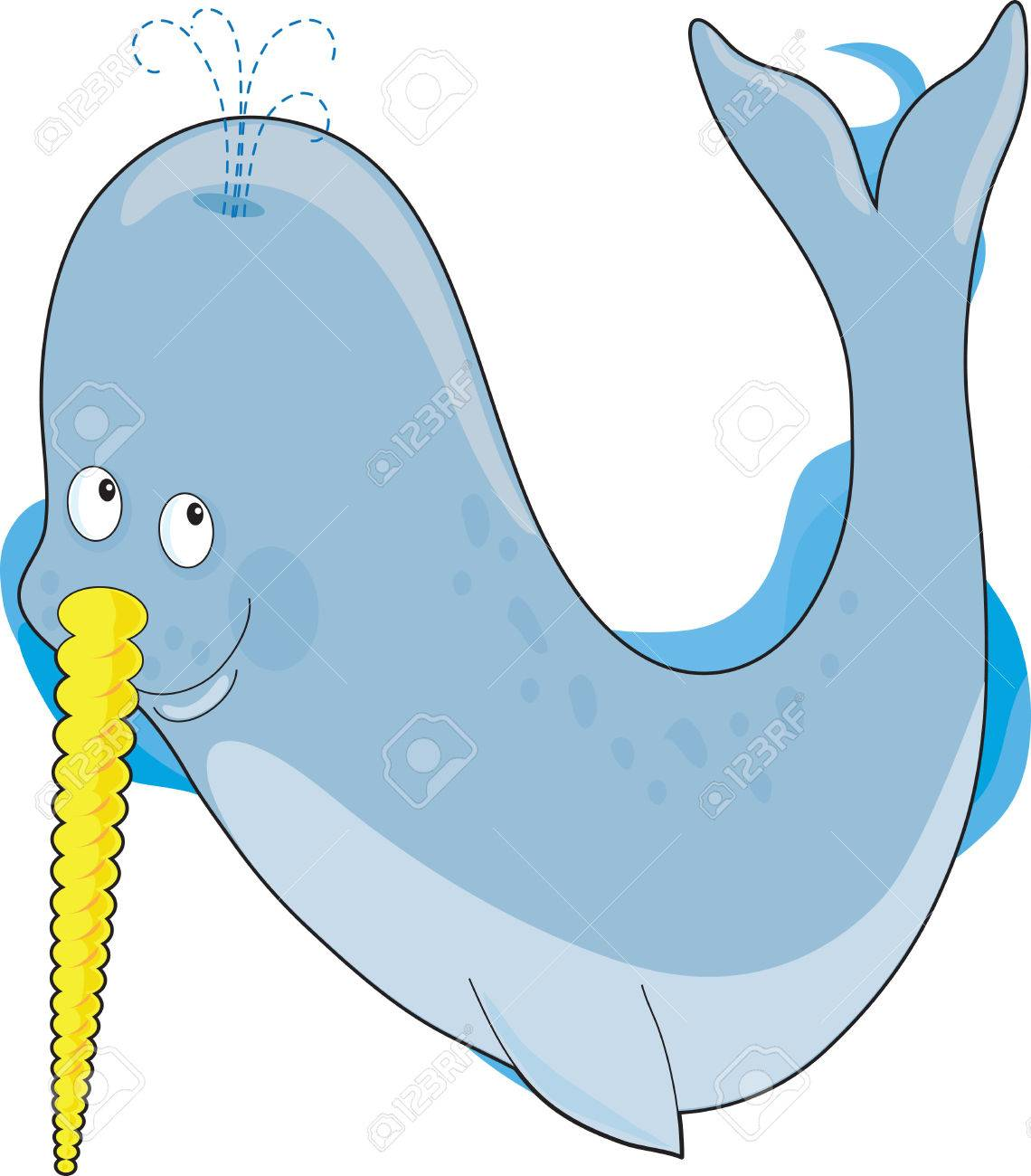 a narwhal whale in the shape of a the letter n royalty free