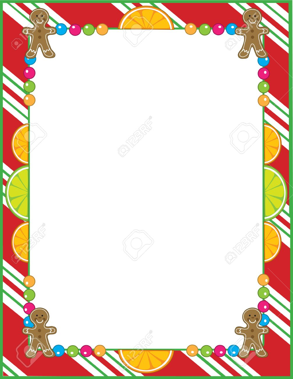 A border or frame featurng Christmas candies like peppermint,fruit slices and gingerbread cookies Stock Vector - 7908620