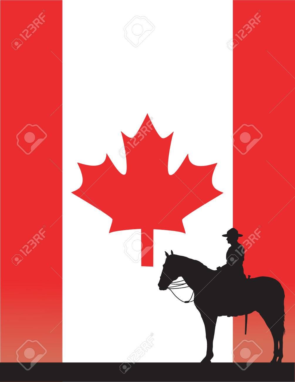 the silhouette of a canadian mounted police officer against a