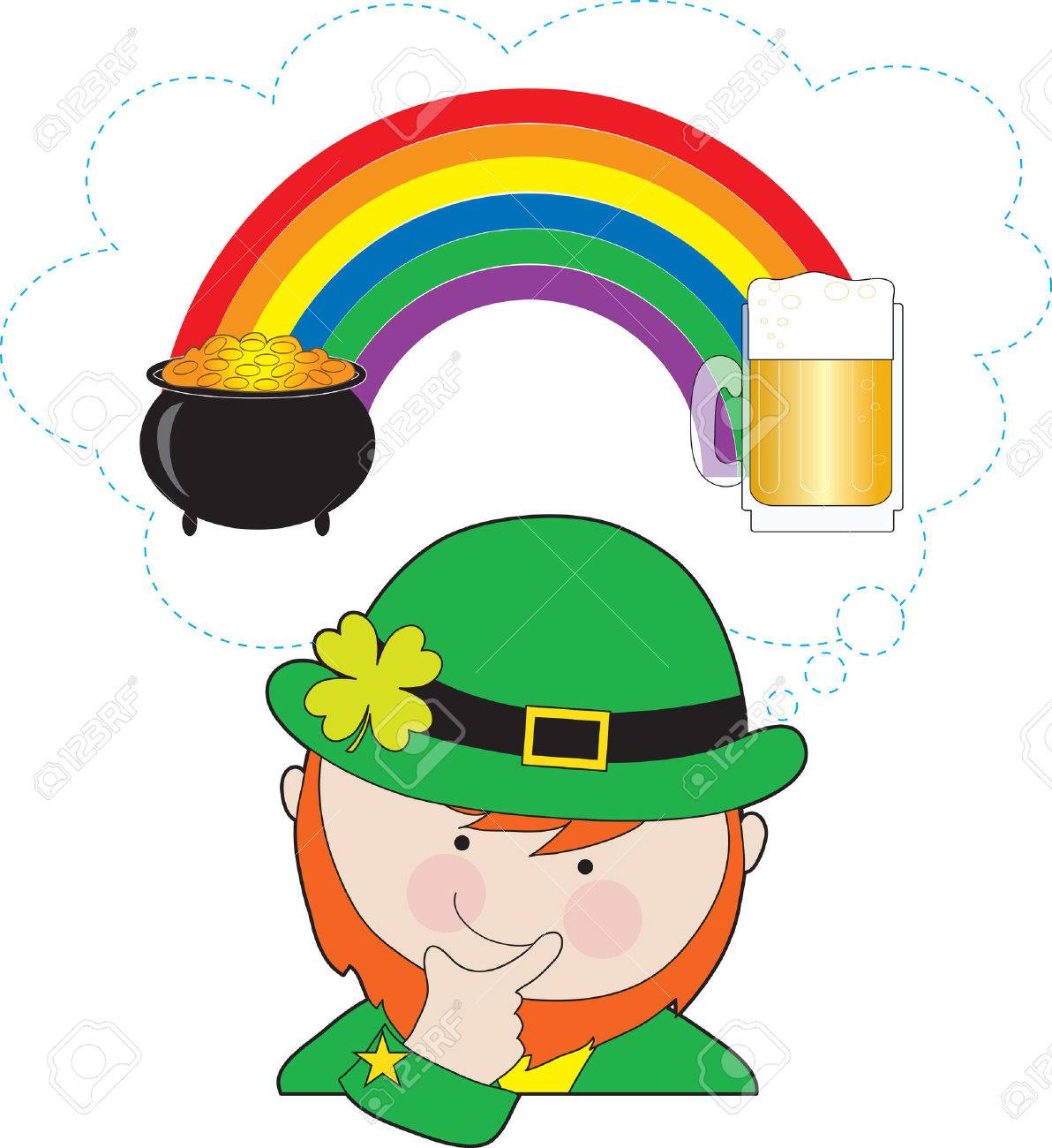 Uncategorized Leprechauns And Rainbows a leprechaun is pondering what at the ends of rainbow pot of