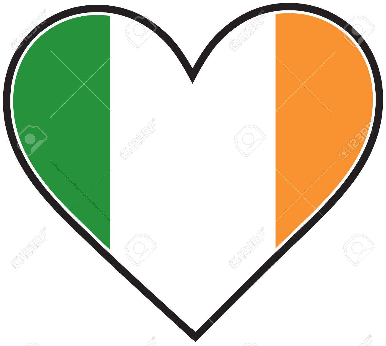a heart with the irish flag in it royalty free cliparts vectors