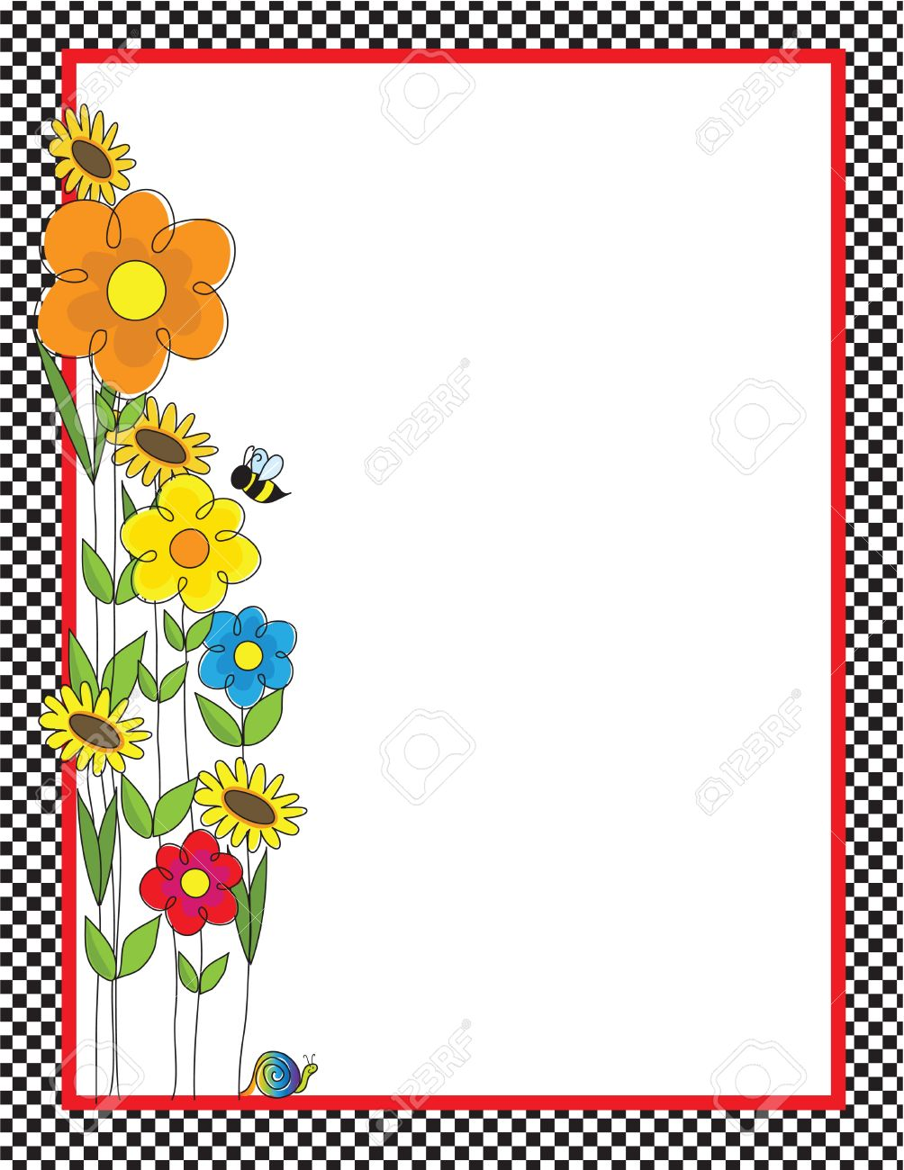 A black and white checkered border featuring a spring garden with a bee and a snail Stock Vector - 9168139
