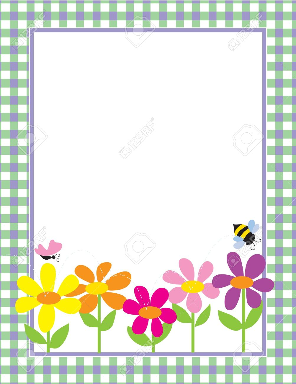 A border or frame featuring a row of colorful daisies, a butterfly and a bee Stock Vector - 9214133