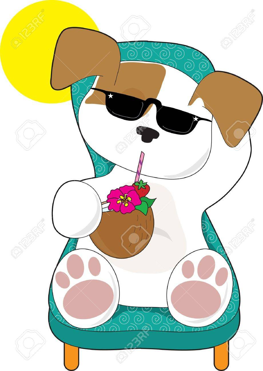 A Cute Puppy Is Relaxing In A Lawn Chair And Enjoying A Tropical Drink  Stock Vector