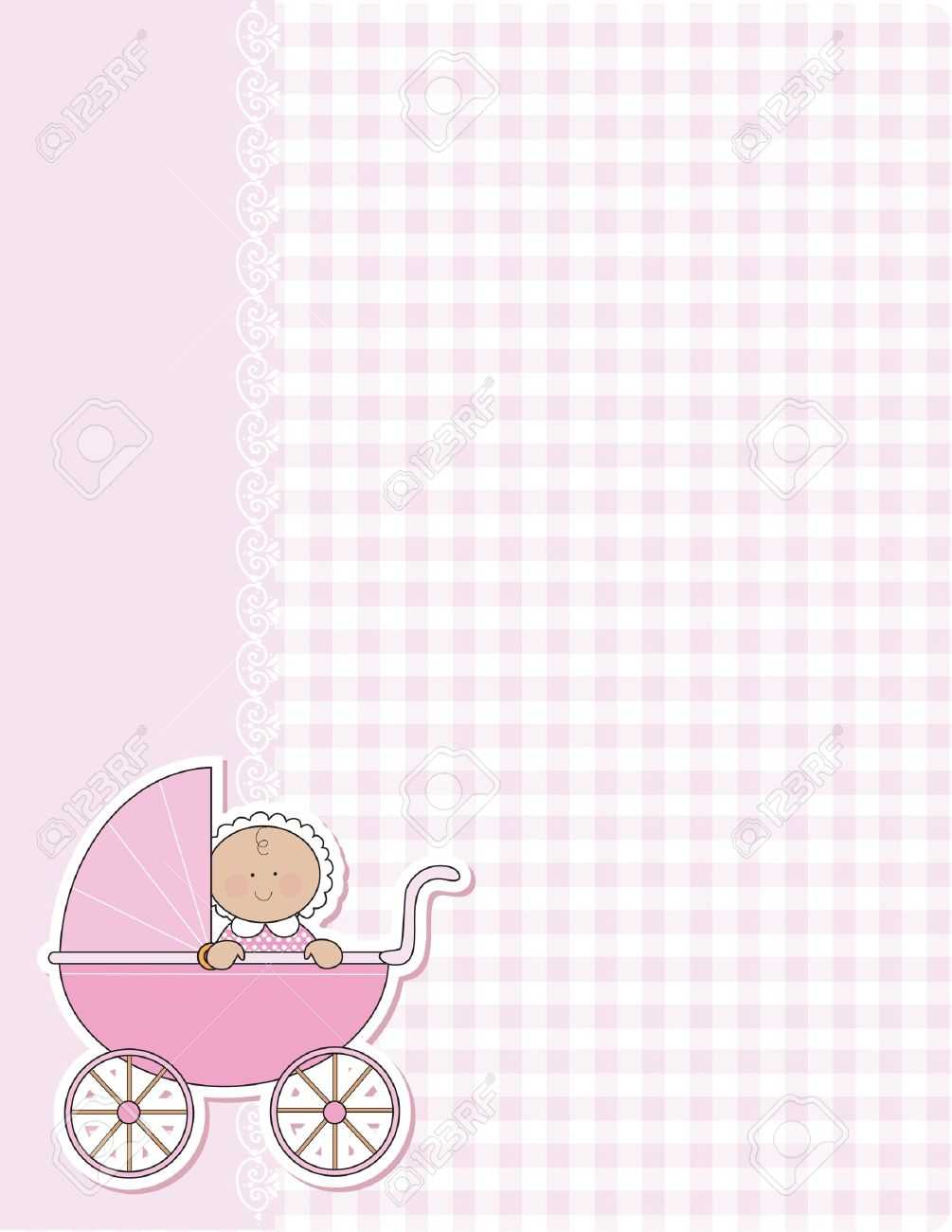Wonderful A Background For The Arrival Of A New Baby Girl. Pink Gingham And Lace And