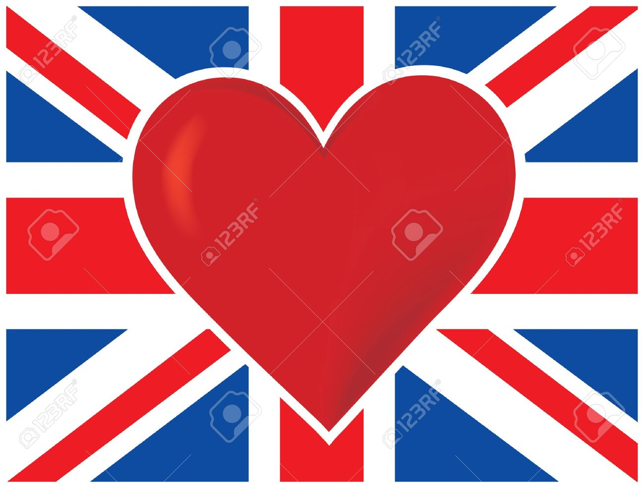 A British flag with a big red heart in the center of it - 9455885