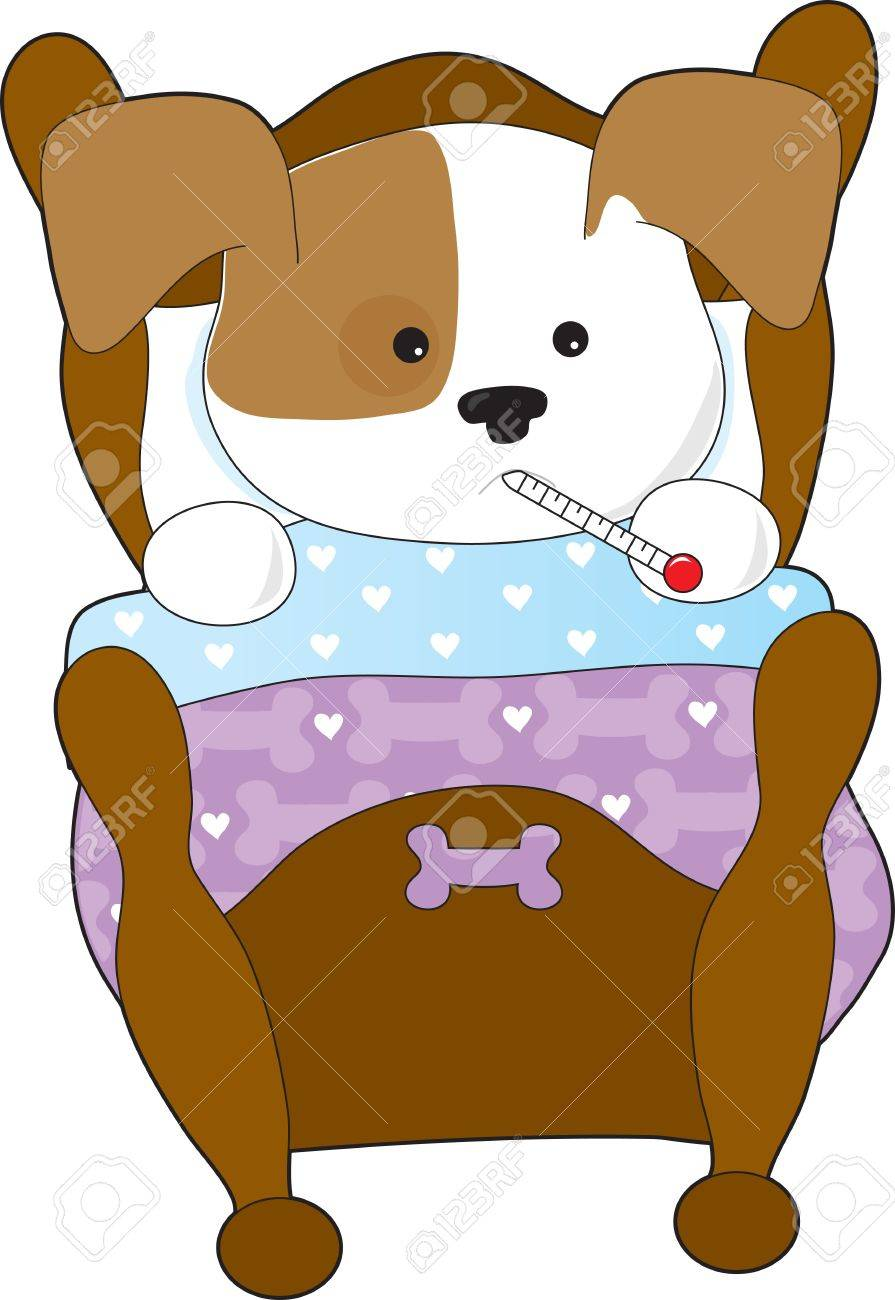 A cute puppy is sick in bed. It has a thermometer in its mouth - 9678531
