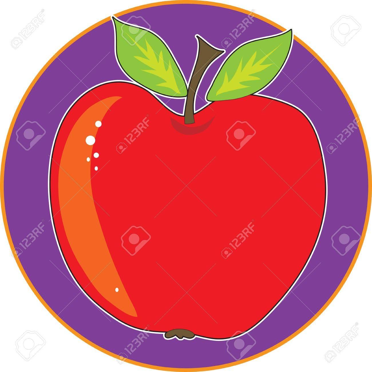 purple apple clipart. a single apple on bright purple circle background stock vector - 9721261 clipart