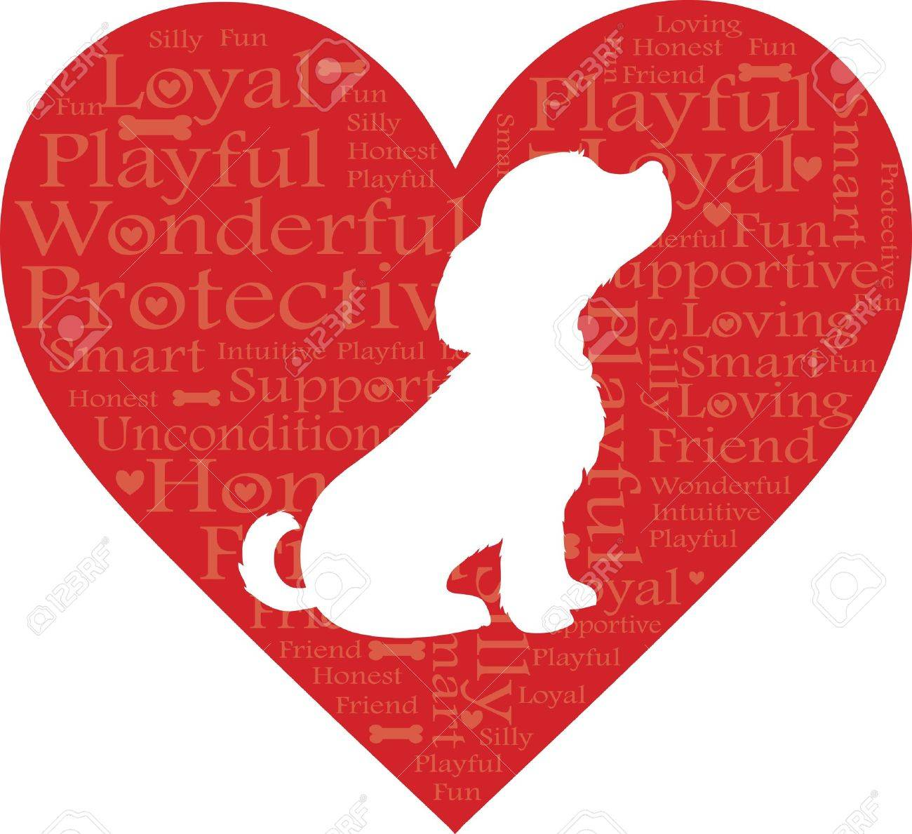 A red heart with words describing a dog and a white dog silhouette - 9805837