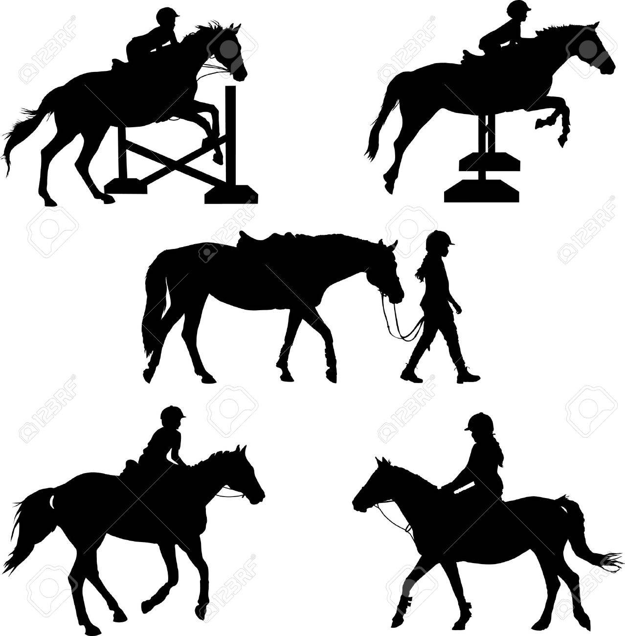 A group of five silhouettes featuring  horses and children Stock Vector - 10393698