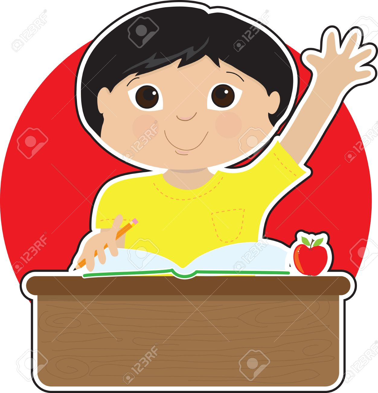A little Asian boy is raising his hand to answer a question in school - there is a book and an apple on his desk Stock Vector - 10433178
