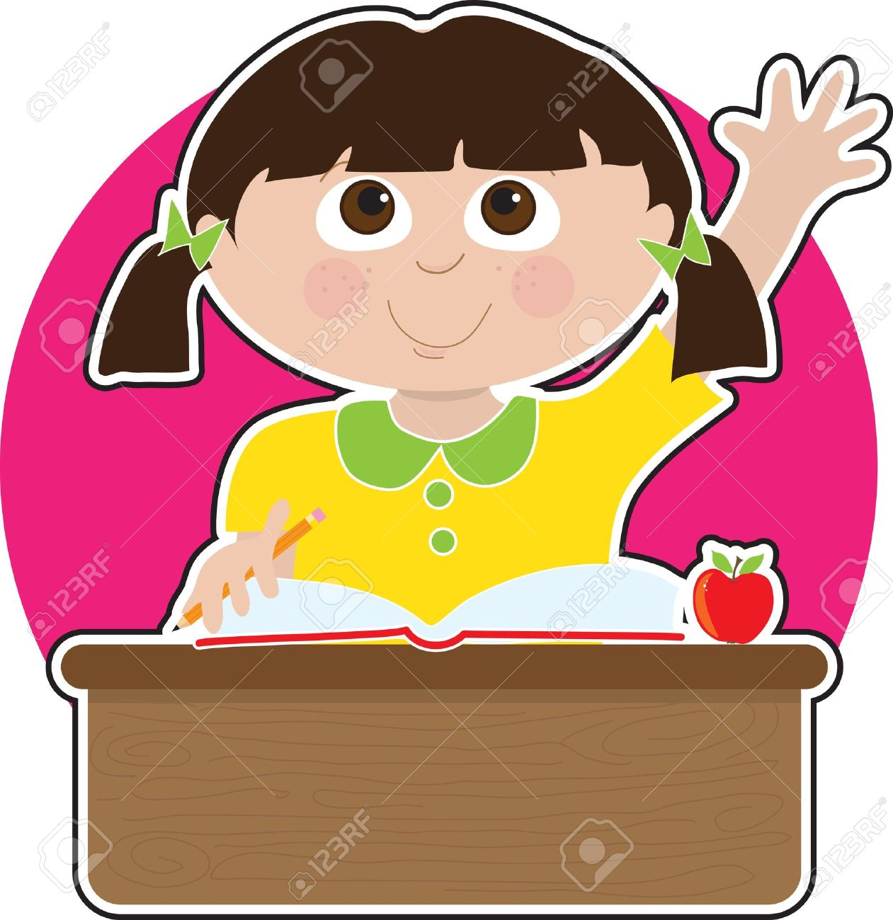 A little girl is raising her hand to answer a question in school - there is a book and an apple on her desk Stock Vector - 10433180