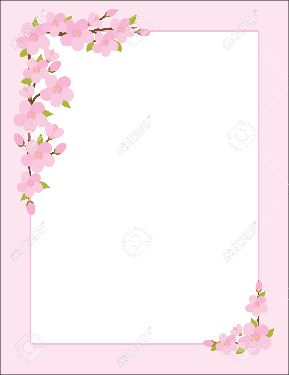 A border, frame or background featuring sprigs of apple blossoms Stock Vector - 10433181