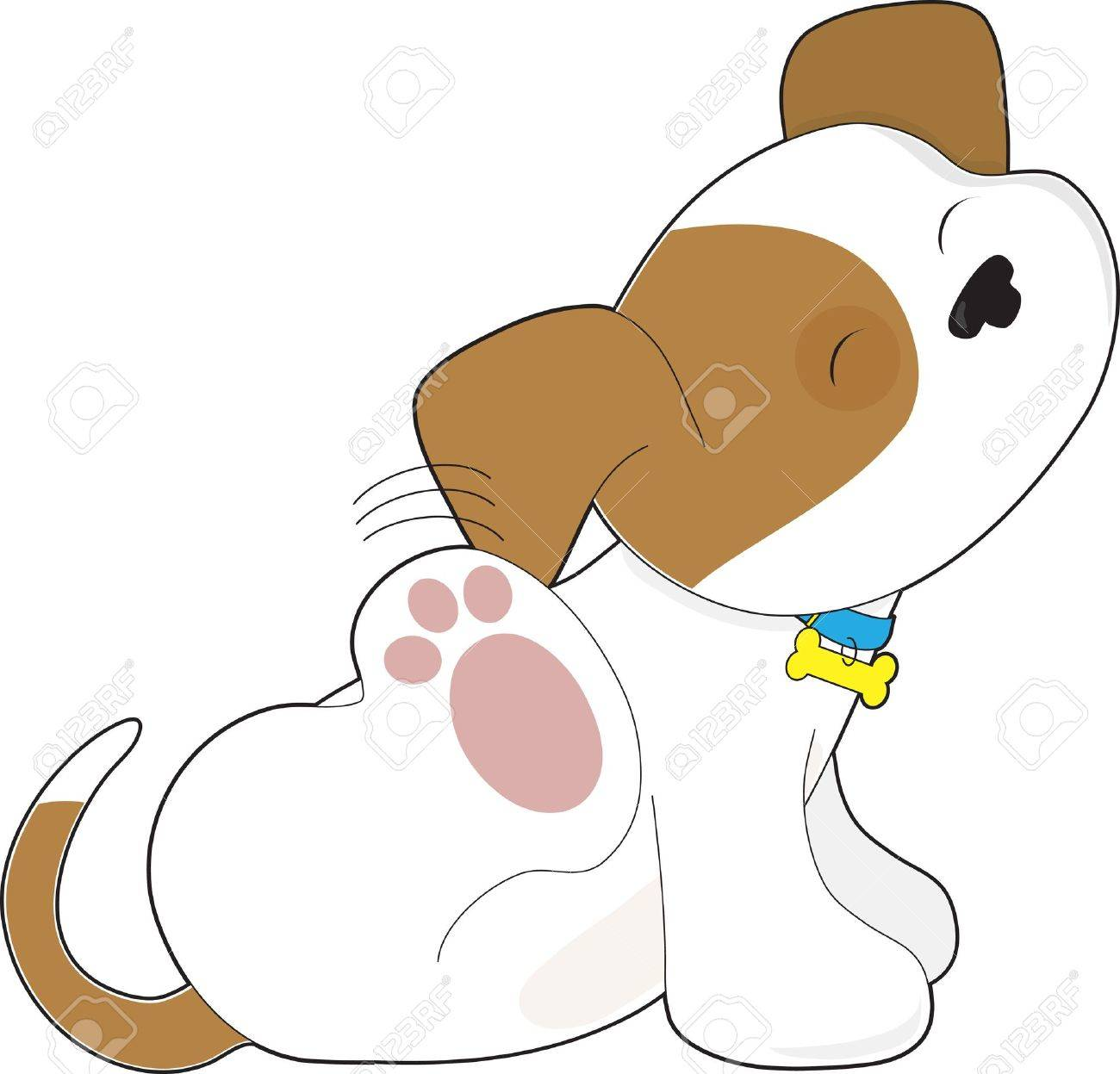 A cute brown and white puppy is scratching its ear. Stock Vector - 10746904