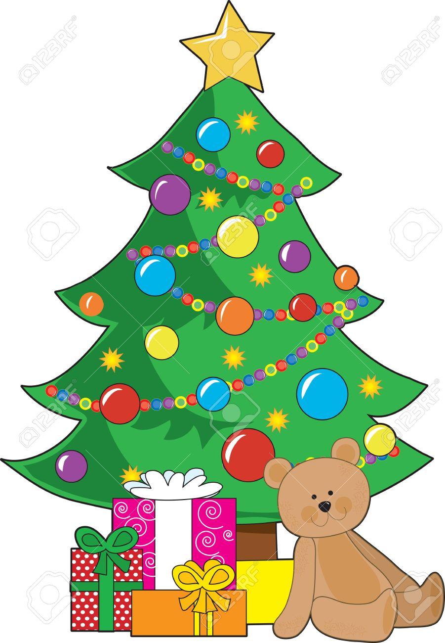 Ein Weihnachtsbaum Mit Ornamenten Und Einem Stern Verziert ...