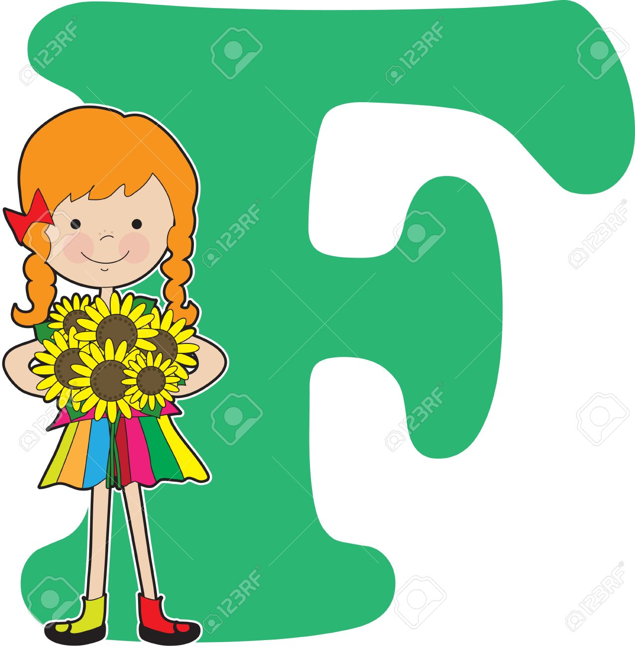 a young girl holding flowers to stand for the letter f royalty free rh 123rf com clipart of letter f letter f clipart black and white