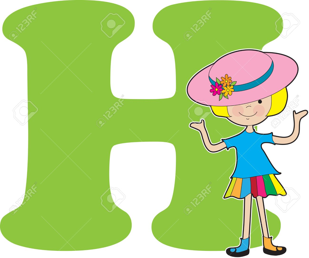 A young girl wearing a big hat to stand for the letter h royalty a young girl wearing a big hat to stand for the letter h stock vector thecheapjerseys Choice Image