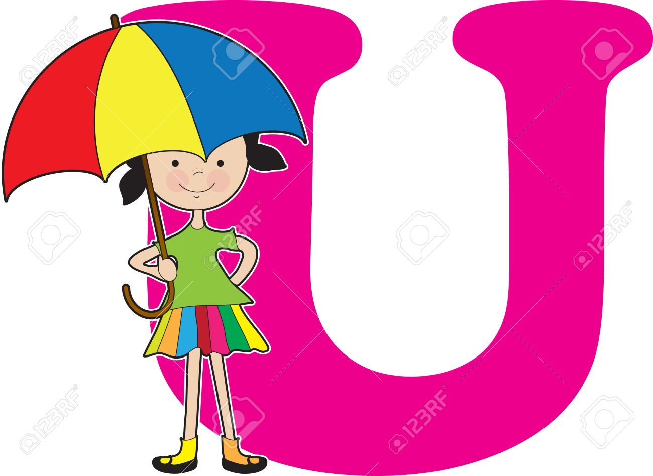 a young girl holding an umbrella to stand for the letter u royalty