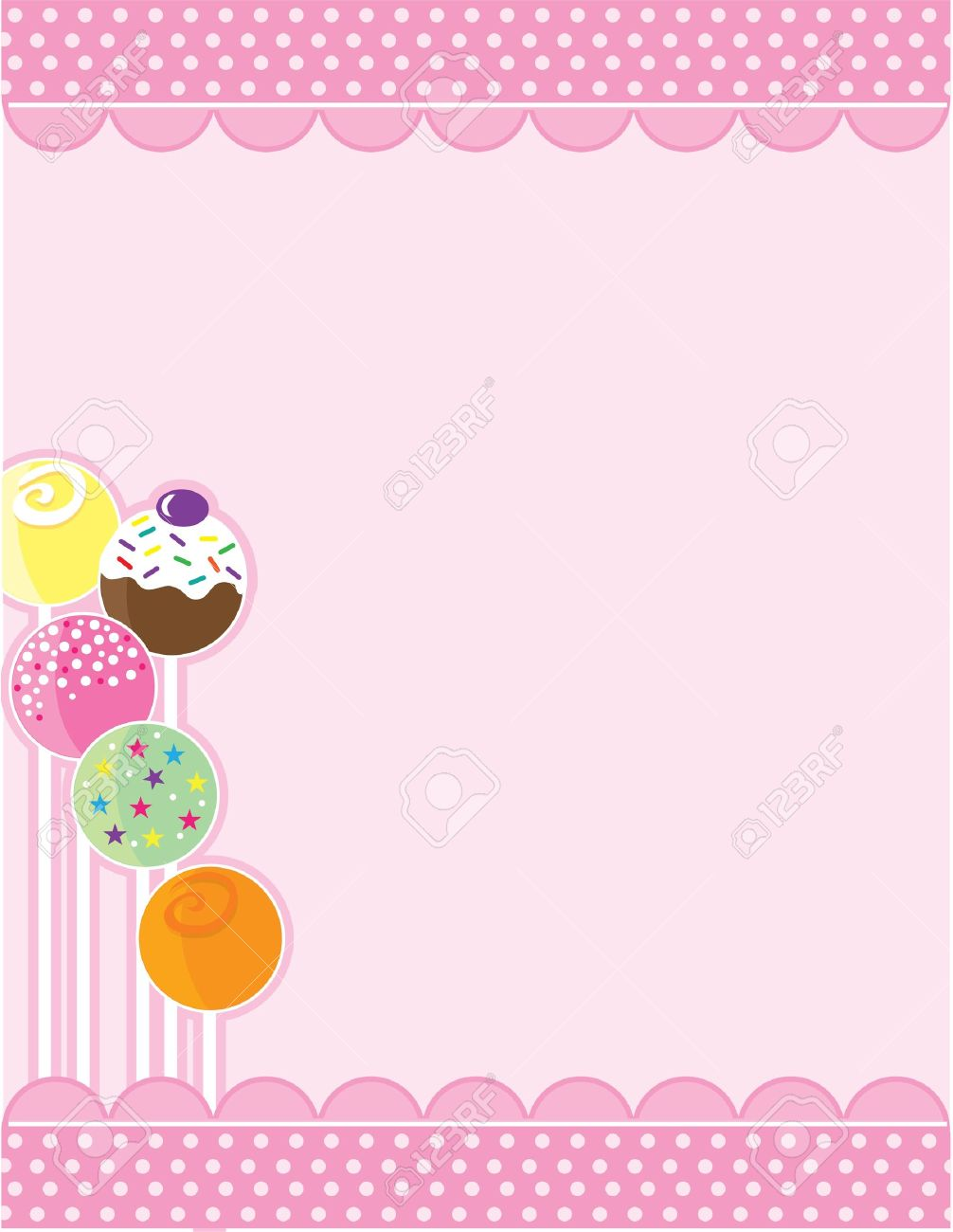 Background image bottom 0 - A Pink Background With Top And Bottom Decorative Borders A Stand Of Candy Pops Embellishes