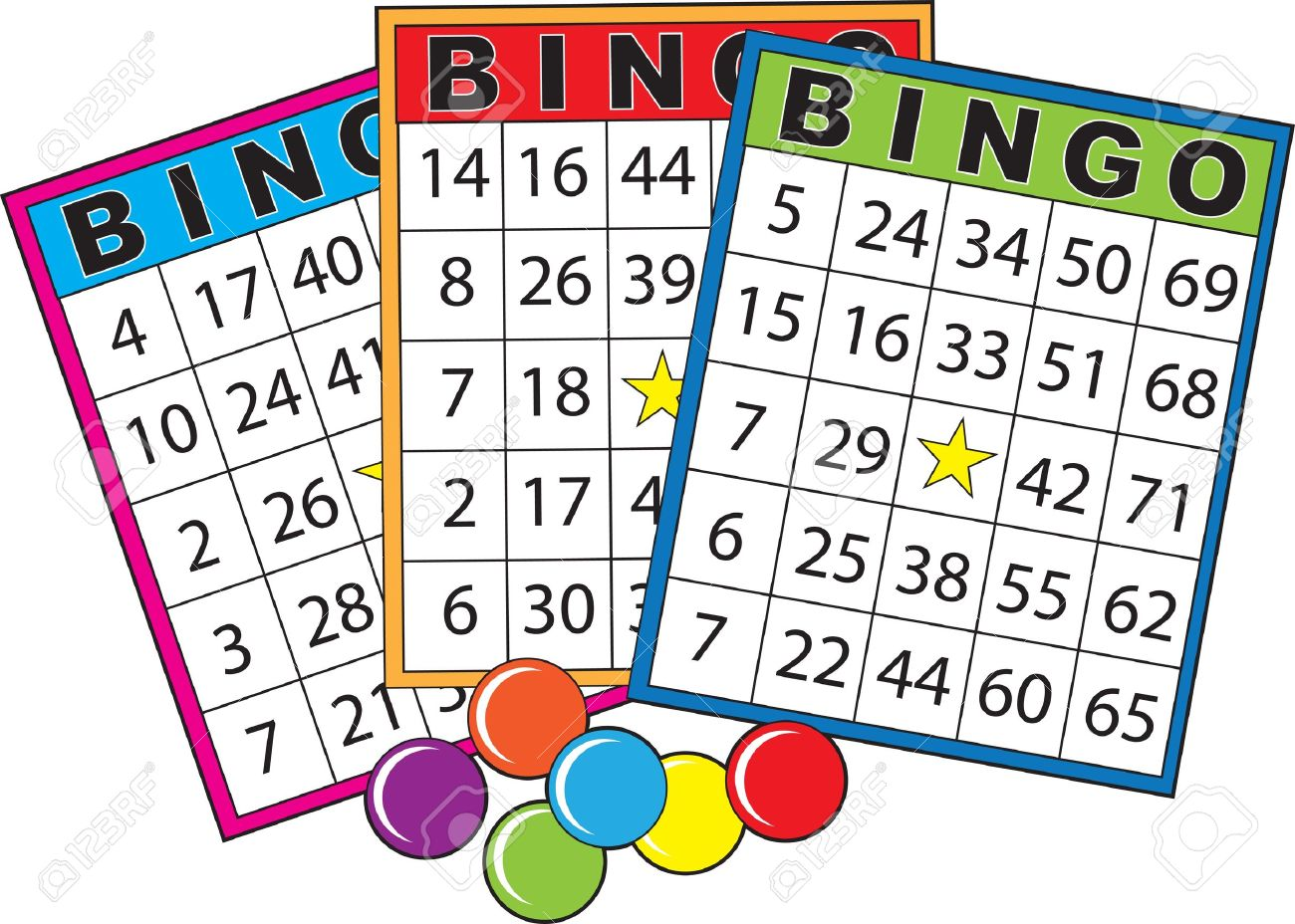 Super Three Colorful Bingo Cards. Stock Photo, Picture And Royalty Free OT-32