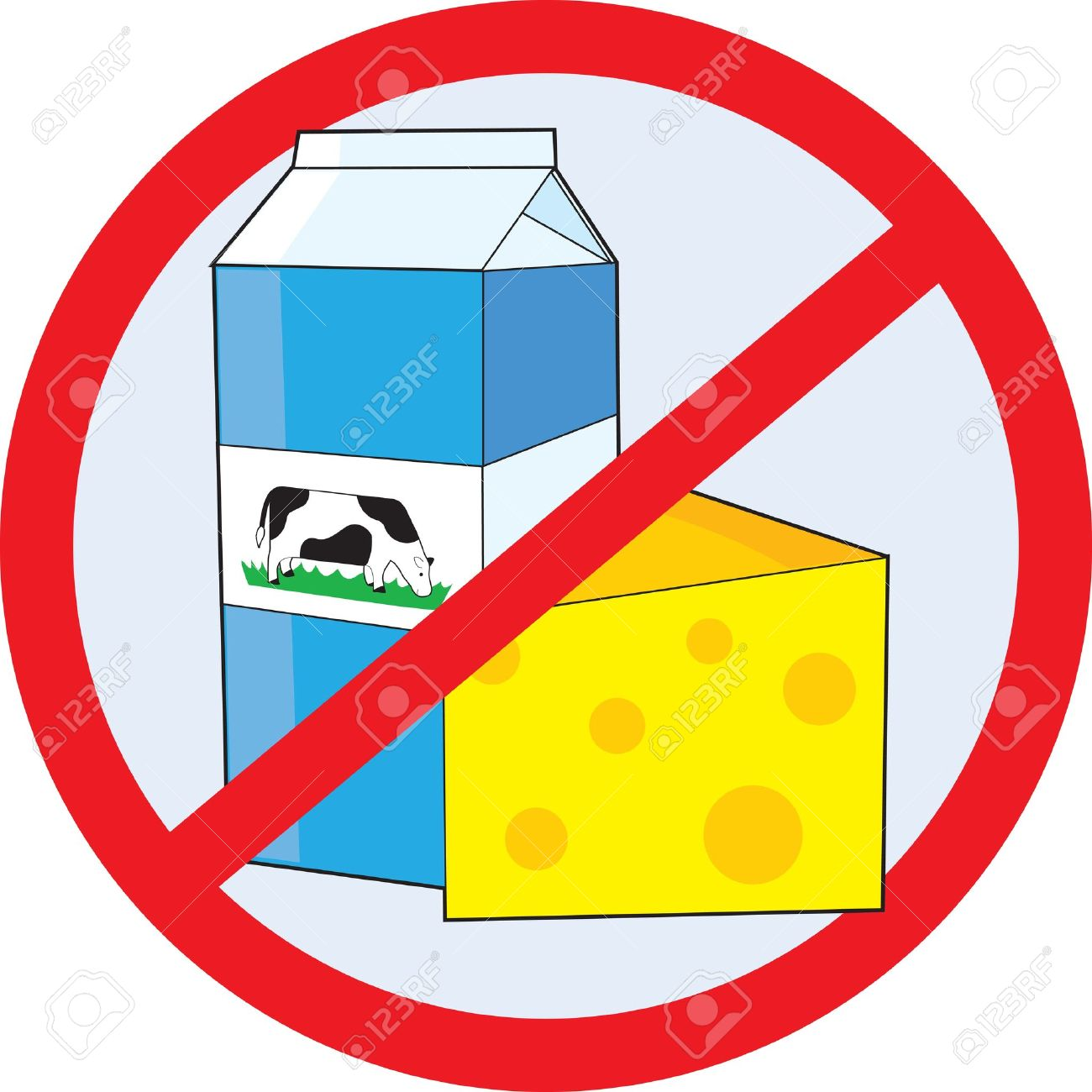 A red circle outline with a slash through it, is superimposed over a piece of cheese and a milk carton with a picture of a cow on the side, clearly indicating NO DAIRY Stock Photo - 12808691