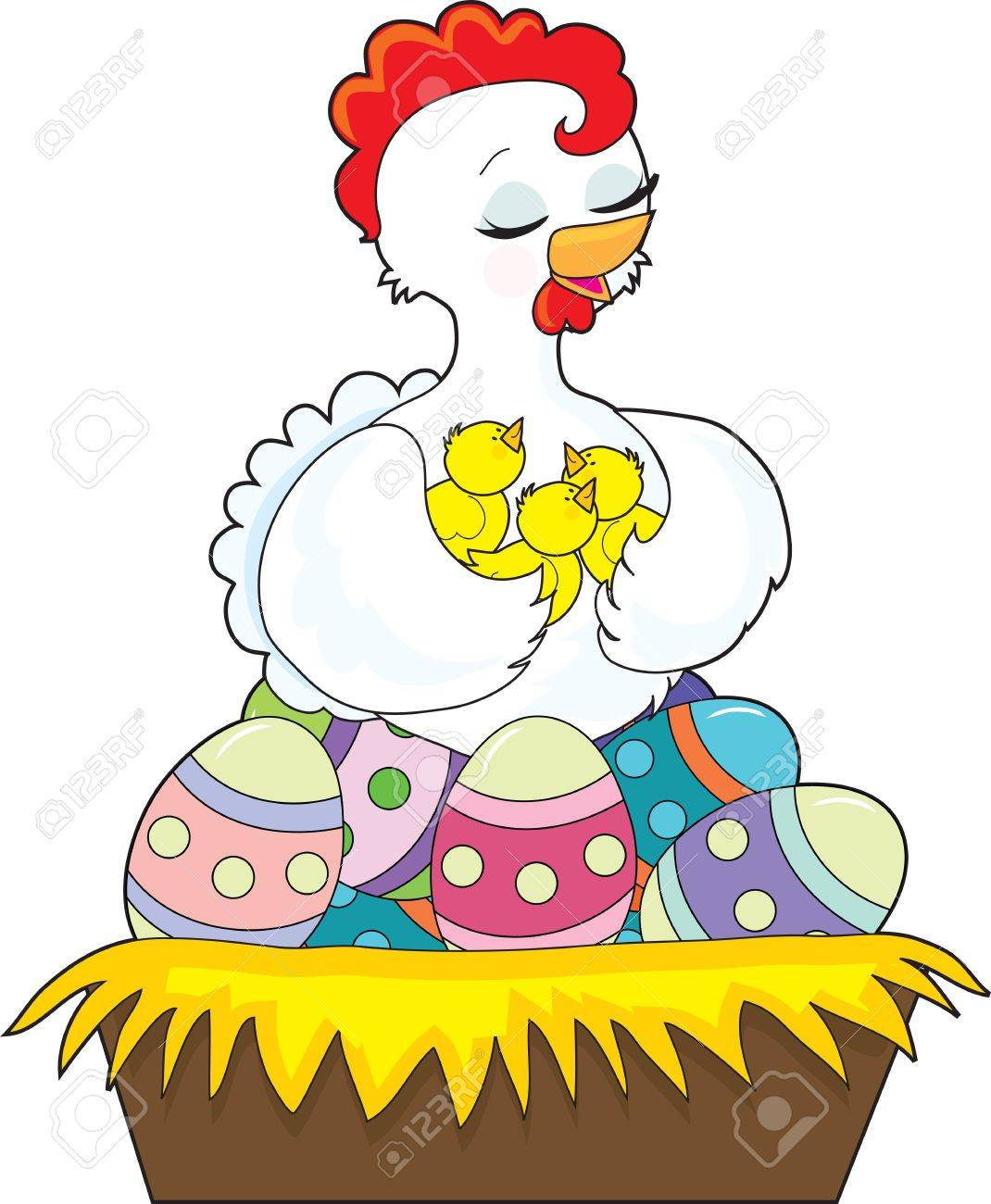 A happy hen holds her chicks with her wings, as she sits on the painted Easter eggs which fill her nest Stock Photo - 13081770
