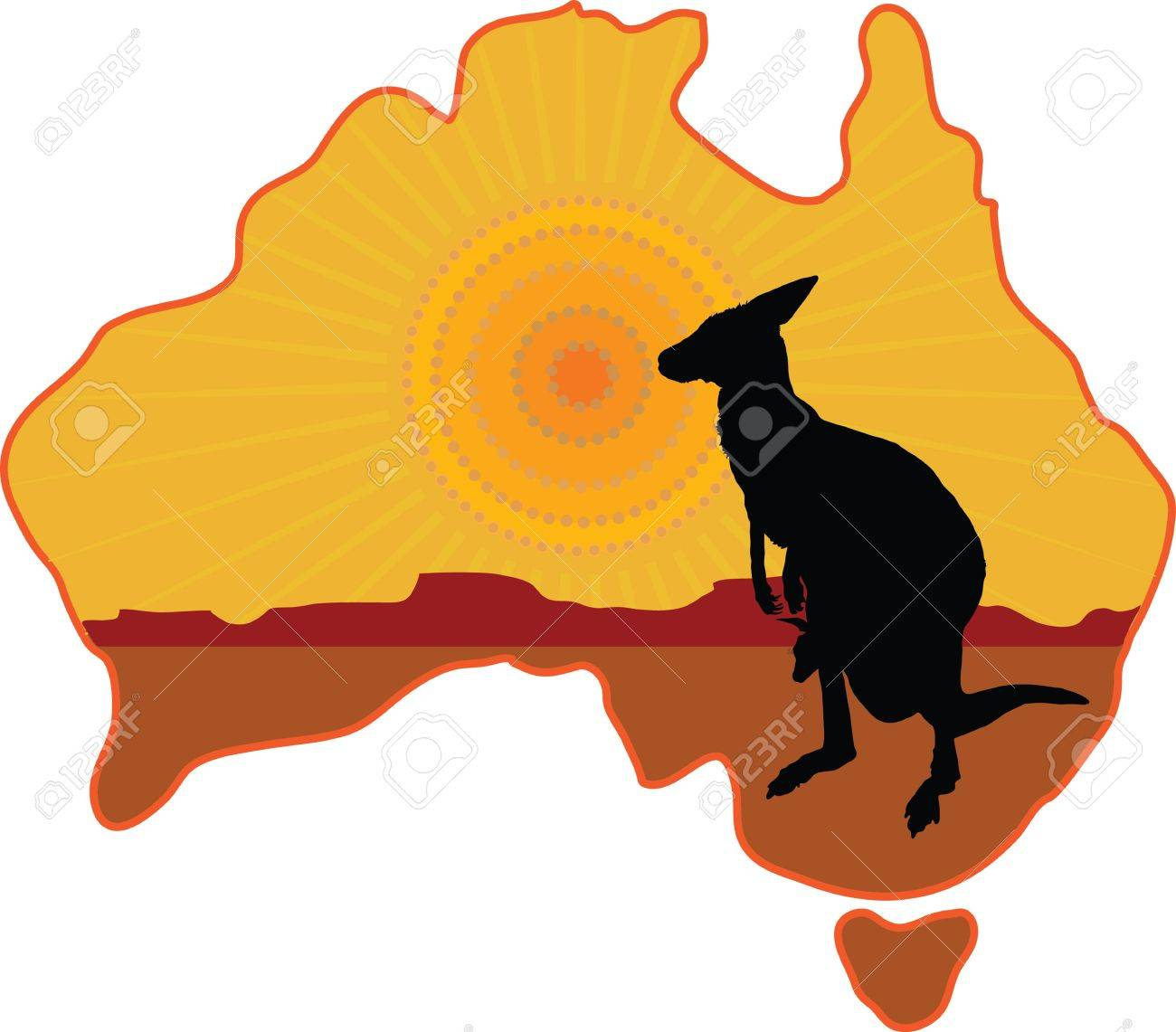 A Stylized Map Of Australia With A Silhouette Of A Kangaroo With - Australia map kangaroo