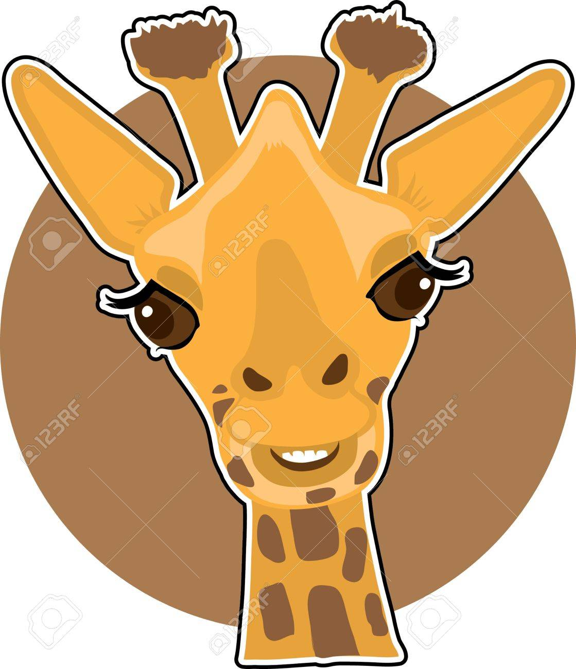 a cute giraffe portrait with a brown circle background royalty