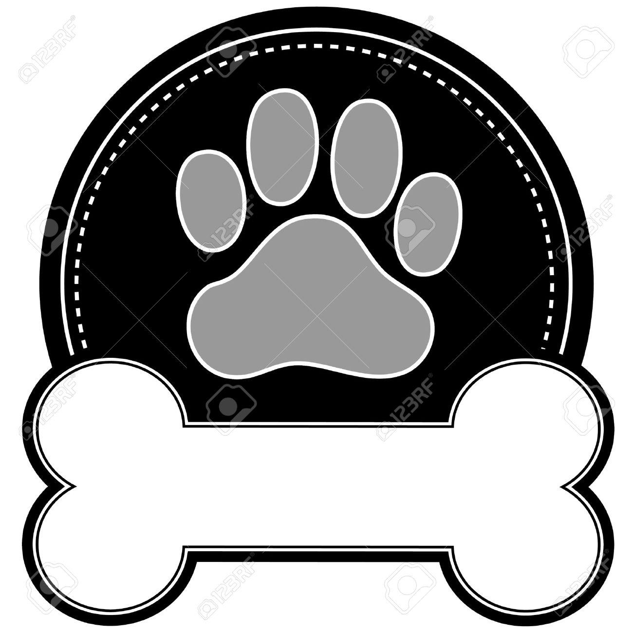 Una Huella De Perro Y El Hueso De Perro Con Espacio Para El Texto En