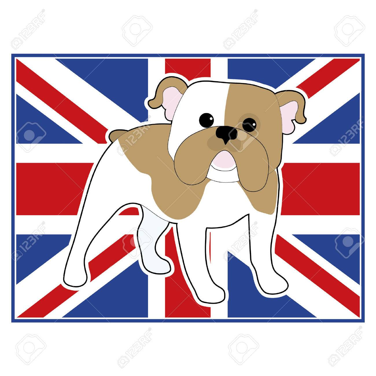 A cartoon illustration of an English Bulldog with a British flag in the background - 29686713