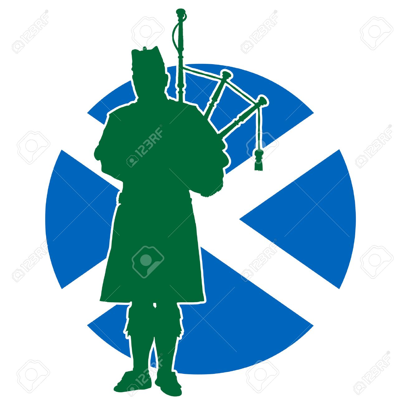 A silhouette of a Scottish piper playing the bagpipes. The Scottish flag is in the background - 29953135
