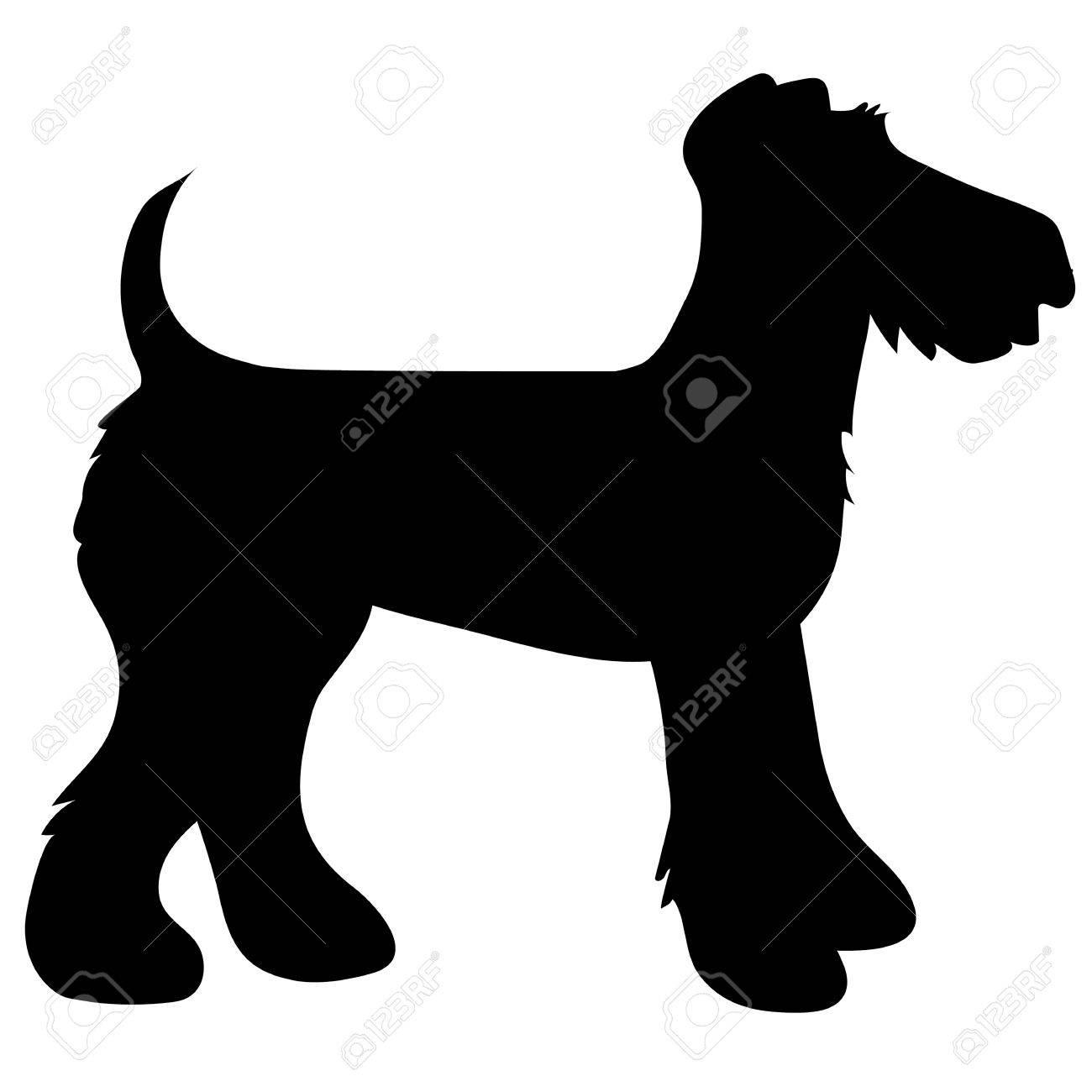 A cartoon black silhouette of an Airedale Terrier - 30398782