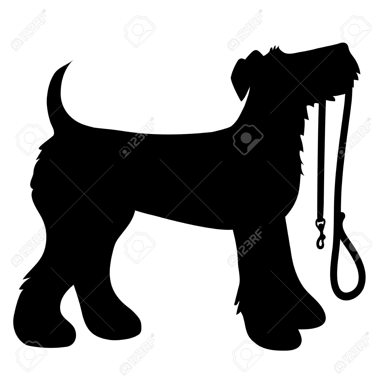 A cartoon black silhouette of an Airedale Terrier with a leash in its mouth - 30398783