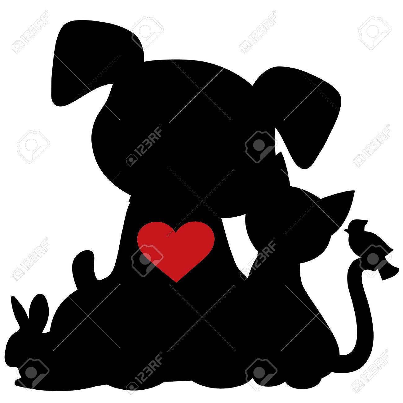 A silhouette of a group of pets including a dog, cat, rabbit and bird. There is a red heart on the dogs chest - 30636769