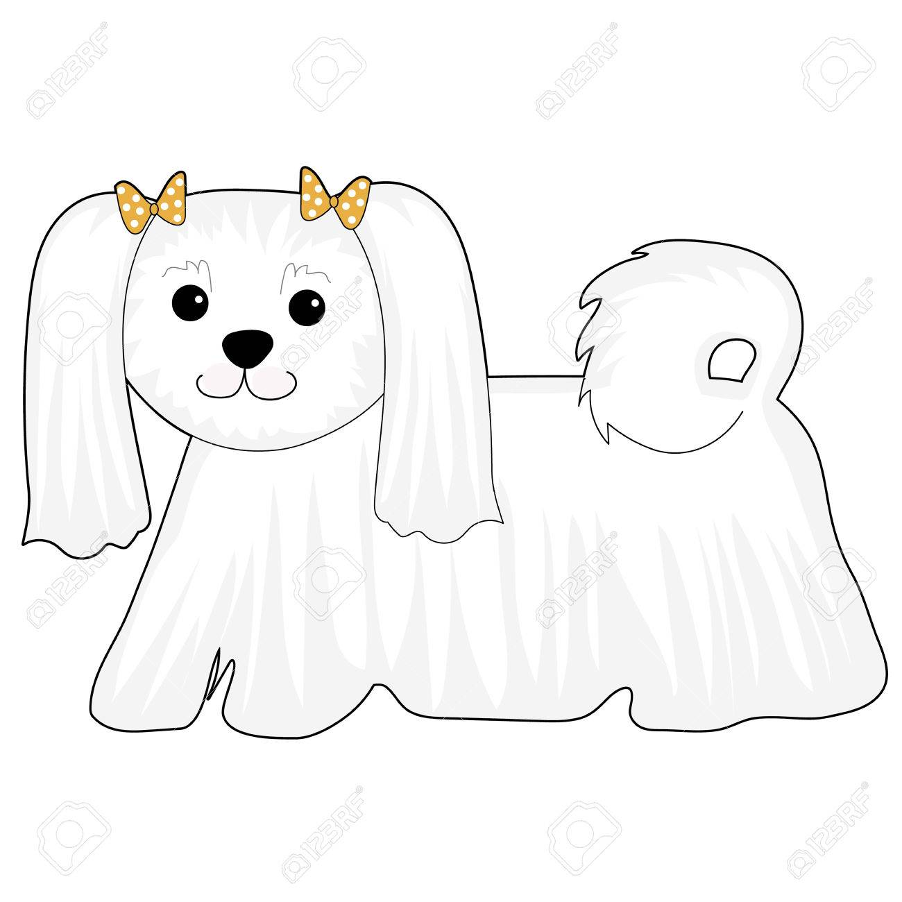 A cartoon of a Maltese dog with bows in her hair - 30734808