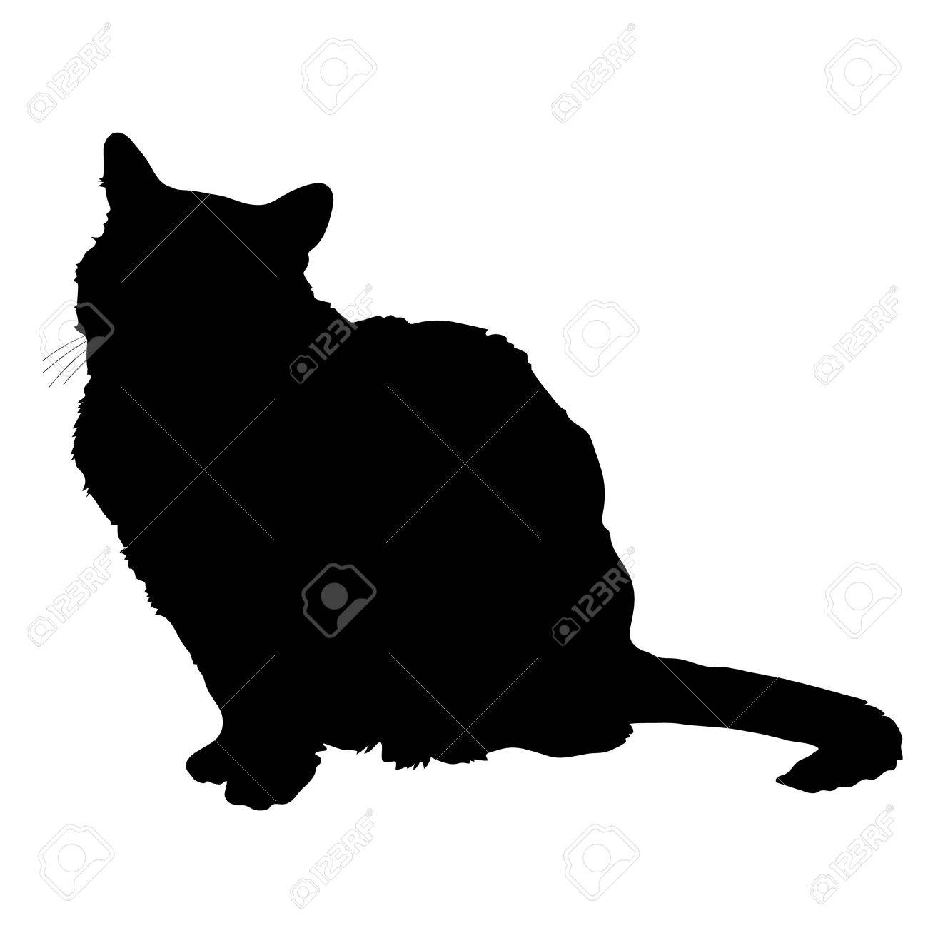 A black silhouette of a sitting cat - 32502702