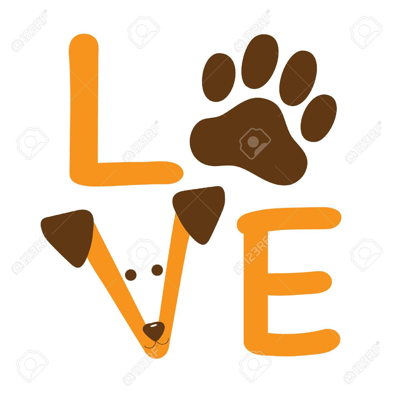 A graphic of the word love showing a dog paw and a dog's face - 39329465