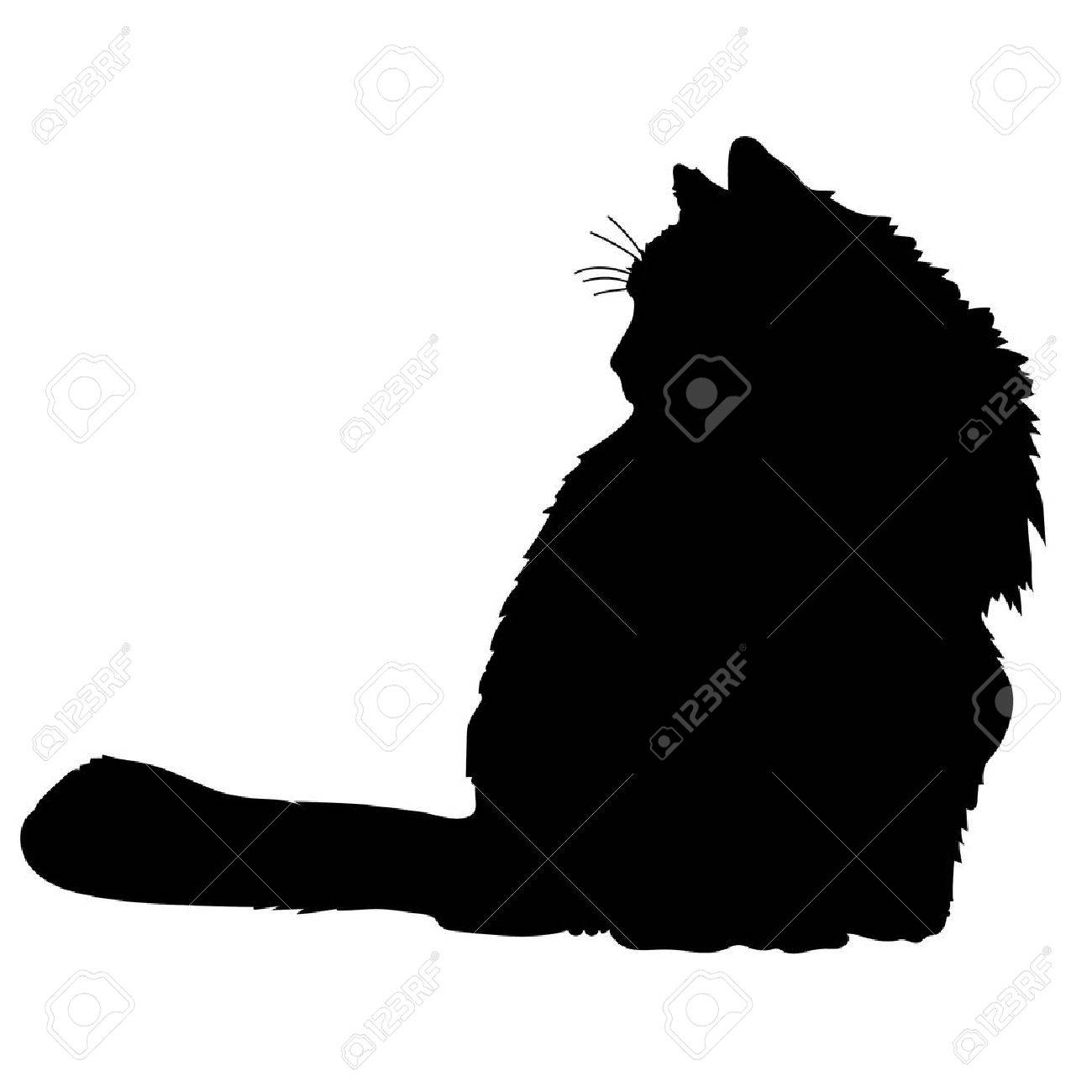 Una silueta de un gato negro Foto de archivo - 41855405