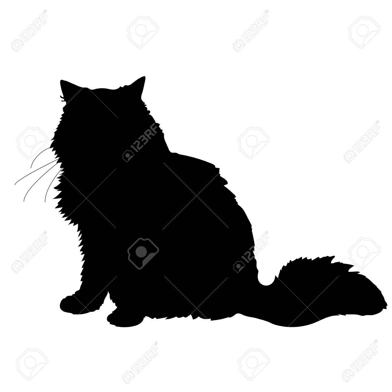 A black silhouette of a cat - 41855414