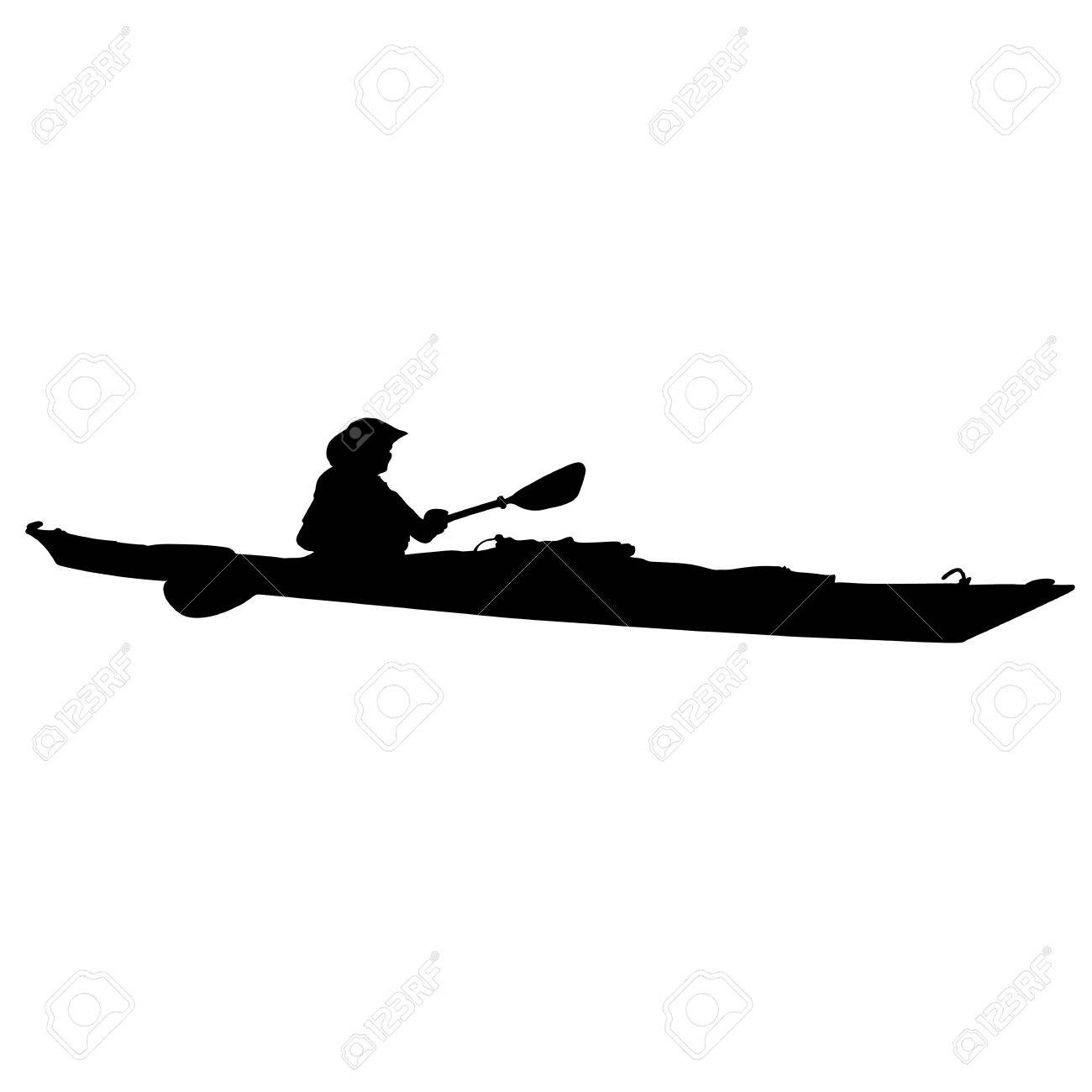 A black silhouette of a woman in a long kayak - 43609085
