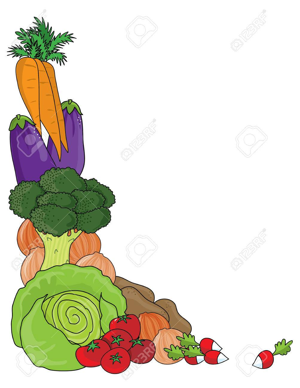 A grouping of vegetables as a frame or border - 47965776