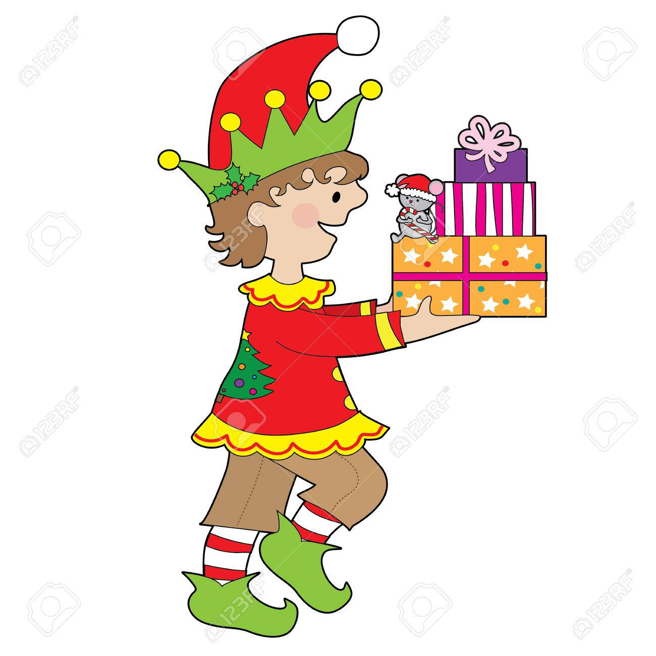 A little male elf is carrying a stack of presents that has a little mouse sitting on them - 48670028
