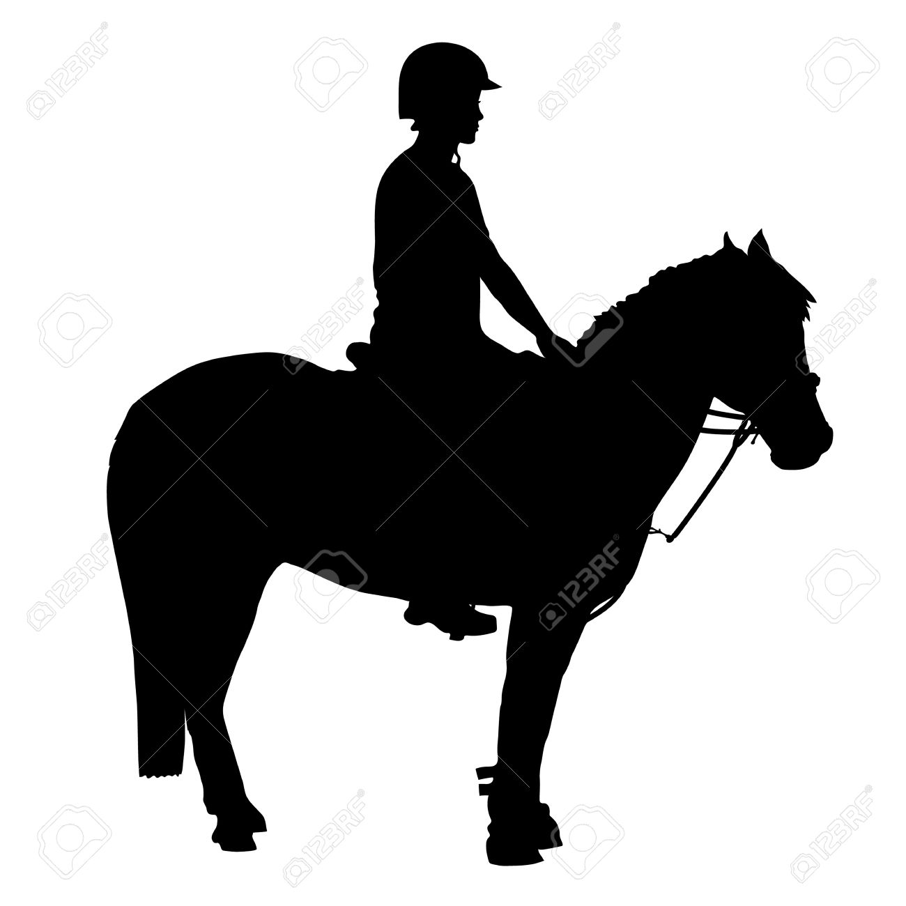 A black silhouette of a pony and rider that participate in mounted games and other equestrian sports - 49159214