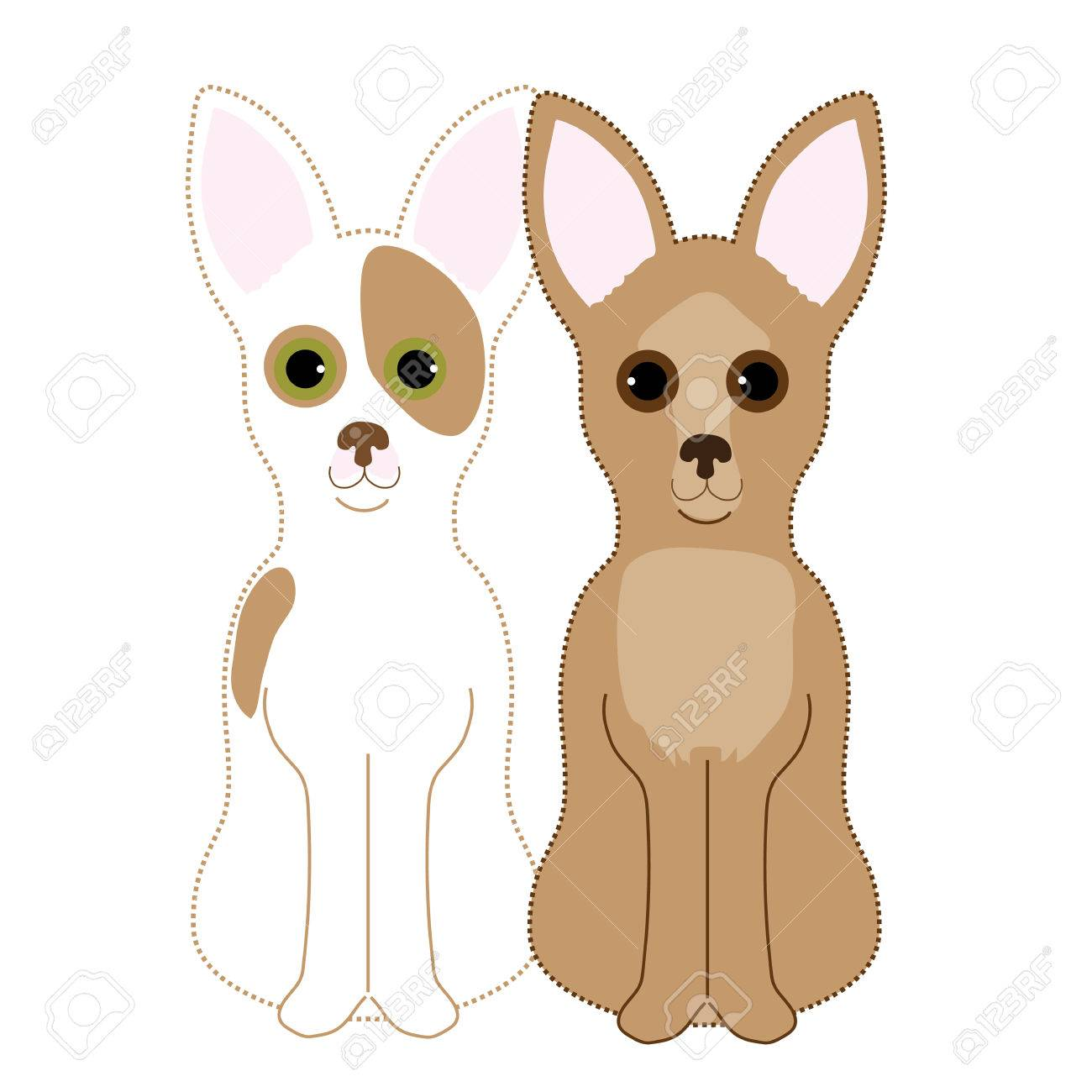 A pair of Chihuahuas sitting next to each other. One is a fawn and the other a red and white - 50160208