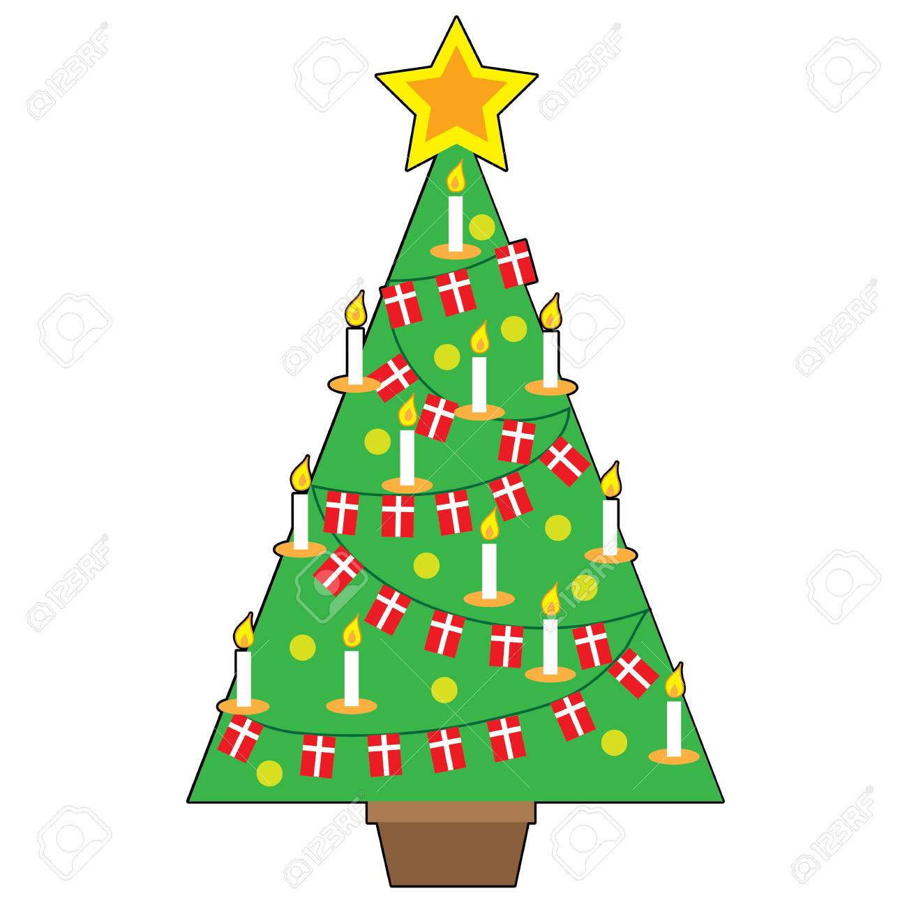 A stylized design of a traditional Danish Christmas tree - 50512896